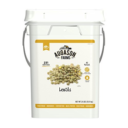 Augason Farms Lentil Beans Emergency Bulk Food Storage 4 Gallon Pail 231 Servings