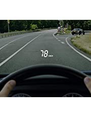 """SHEROX 3.5"""" Car HUD Head Up Display with OBD2/EUOBD Interface Plug & Play Vehicle Speed KM/h MPH OverSpeed Warning Water Temperature Battery Voltage Mileage Measurement"""