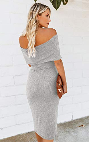 Sleeve Long Midi Evening Grey Dress Cocktail Knit Off Angashion Bodycon Belt Shoulder Sweater Womens Sexy with wI0Wx1XA