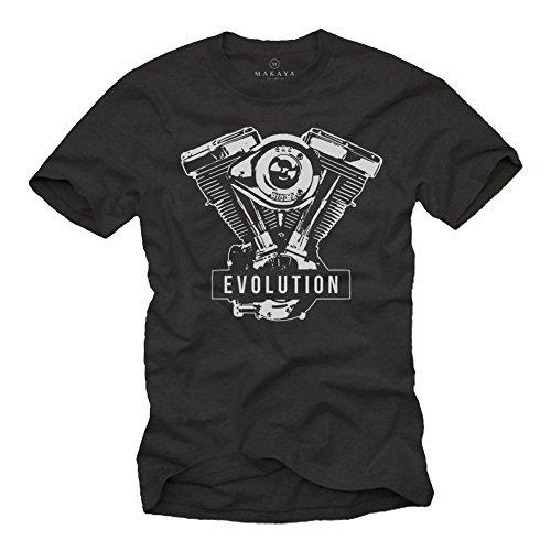 MAKAYA Motorcycle Clothing - Biker Evolution Engine - Mens Motorbike T-Shirt Black Size M