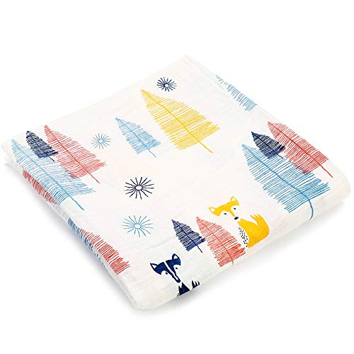 Muslin Swaddle Blankets Silky Soft 100% Cotton Absorbent 1 Pack 47×40 inch Large Muslin Swaddle Baby Shower Gift for Girl and Boy (Color NO8)