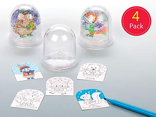 Baker Ross Winter Woodland Color-in Snow Globes for Children to Make Decorate and Personalise - Creative Xmas Craft Acitivity for Kids (Box of 4)