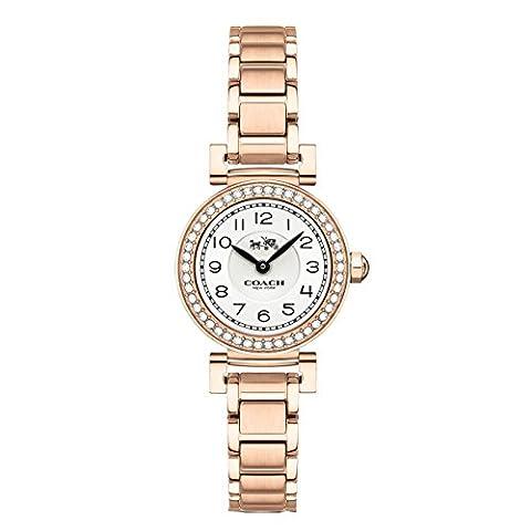 COACH Women's Madison Fashion 23mm Bracelet Watch White/Rose Gold Watch (Coach Women Gold Watch)
