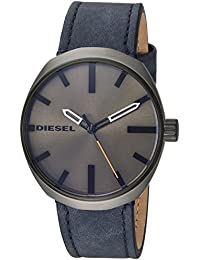 Men's 'Klutch' Quartz Stainless Steel and Leather Casual Watch, Color:Blue (Model: DZ1832)