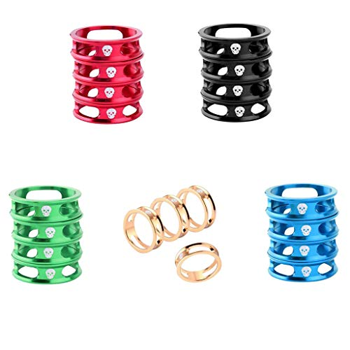 SM SunniMix 20Pcs 1-1/8 inch MTB Folding Mountain Bicycle Headset Spacers Set 10mm Road Bike Front Fork Stem Washers Kit Fixed Gear Cycling Fixie Accessories