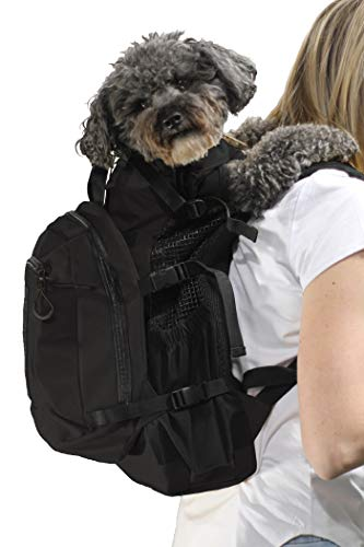 K9 Sport Sack | Dog Carrier Backpack for Small and Medium Pets | Front Facing Adjustable Pack with Storage Bag | Fully Ventilated | Veterinarian Approved (Medium, Air Plus - Jet Black)