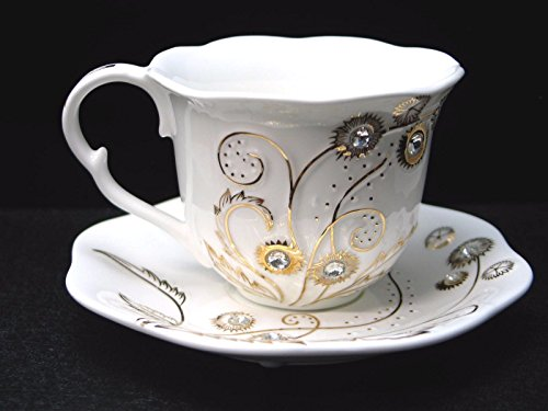 (Euro Porcelain 12-pc Coffee Tea Cup Set, 24K Gold plated w/Swarovski Design inlaid Rhinestones, Bejeweled Bone China Cups (8 oz) w/ 5.5