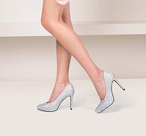 da da sposa alti Scarpe Silver YLLXZ Dress donna Tacchi piattaforma Oro scarpe dimensioni 37 Colore estive impermeabile Punta diamante scarpa 4EOqw7