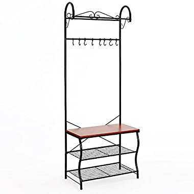 SONGMICS Metal Entryway Shoe Bench with Coat Rack Hallway Storage Organizer 3 Tiers 8 Hooks Black URCR65B