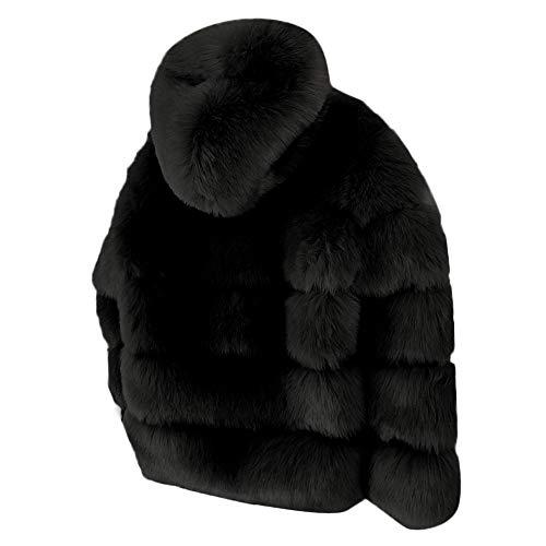 Femmes Manteau Moonuy Fausse En Manches Parka Gradient Fourrure Noir Capuche Solide Pour D'hiver Survêtement Longues Veste Mode Épaissir Hiver Chaud À Chaude rqZfgq5