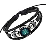 Rosemes Retro 12 Constellation Beaded Hand Woven Leather Bracelet Punk Chain Cuff
