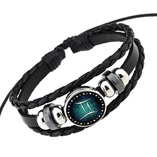 Authentic Hermes Leather Bracelet - Friendshiy Good Rosemes Retro 12 Constellation Beaded Hand Woven Leather Bracelet Punk Chain Cuff,Gemini