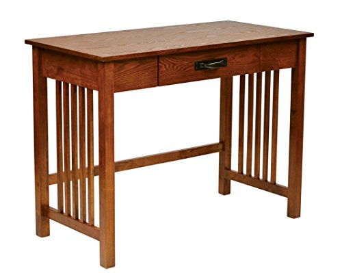 Office Star Sierra Solid Wood Writing Desk with Drawer, Ash Finish (Mission Writing Style Desk)