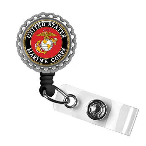 United States Marines Silver Retractable Badge Reel ID Tag Holder by Geek Badges (Us Reel)