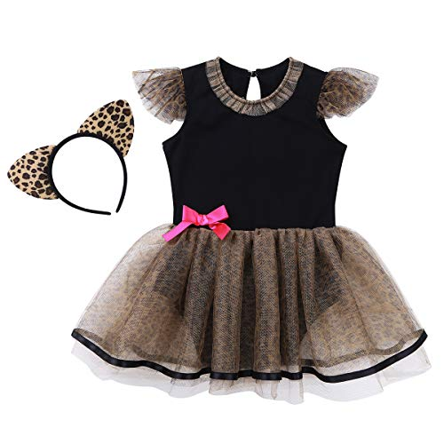 dPois Infant Baby Girls' Halloween Fancy Cat Costume Leopard Print Romper Mesh Tutu Dress with Ear Headband 2Pcs Outfit Black&Brown 2-3 ()
