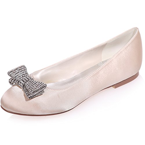 Wedding Shoes Satin Women's ZXF9872 Party Evening Bridal Round with Toe Flats Champagne 25 Clearbridal Prom Bows xSwEgqx