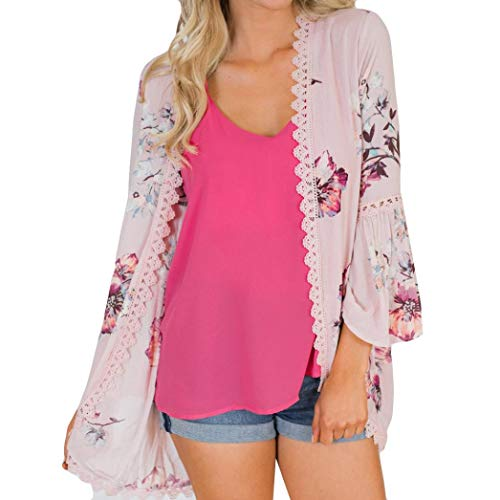 Belted Floral Trench Coat - Syban Women Lace Floral Open Cape Casual Coat Loose Blouse kimono Jacket Cardigan(Small,Y2-Pink)