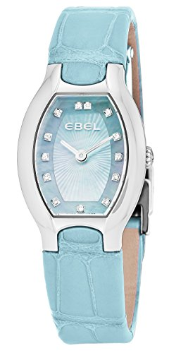 Ebel Beluga Tonneau Womens Light Blue Mother-of-Pearl Face Diamond Light Blue Leather Strap Swiss Quartz Watch 1216246