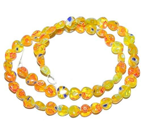 Bead Jewelry Making Yellow w Multi-Color Flowers 8mm Puff Heart Millefiori Glass Beads 15