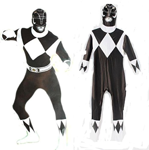 [Horries Halloween Power Rangers Cosplay Black Zentai Costume] (Kickass Costume Cosplay)