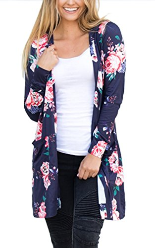 ECOWISH Womens Boho Irregular Long Sleeve Wrap Kimono Cardigans Casual Coverup Coat Tops Outwear Blue2 (Floral Long Sleeve Cardigan)