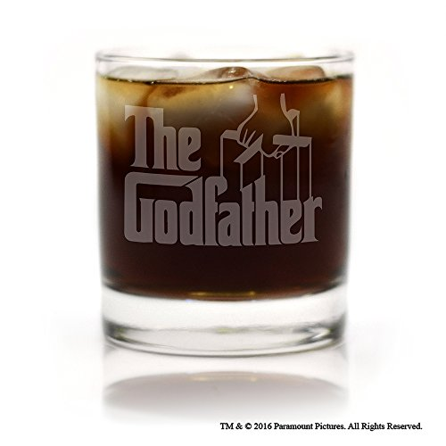 Movies On Glass - The Godfather Movie Engraved Logo Cocktail Glass - Logo Etched Glass