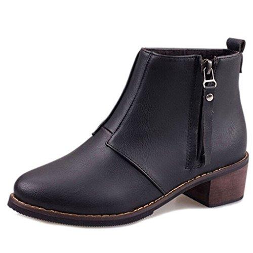 Estimado Time Mujer Zipper Low Heels Botines Negro