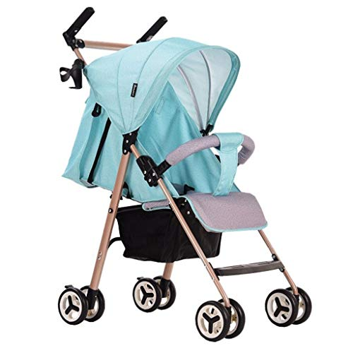 HJJ Cochecito de bebe Cochecito de Aluminio, Ligero y facil de Plegar Cama-Media se Puede sentar el Cochecito de bebe/Asiento de Seguridad Infantil