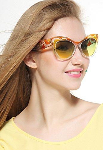 en de yellow Cateye pour Mode Les Lunettes Moderne Soleil Soleil Lunettes air décontractées Plein Femmes Femmes UV400 polarisées and de Lunettes HALORI Orange Xw6Tpfpq