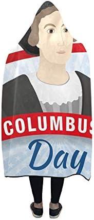 Rtosd Couverture à Capuche Happy Columbus Day Blanket 60x50 Pouces Comfotable Wrap à Capuche