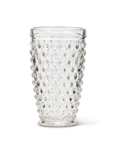 14oz American Chateau Set 6 Vintage-Style 6 Clear Glass Hobnail Highball Water Juice Glasses