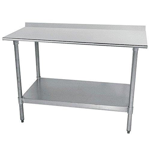 HUBERT Stainless Steel Work Table with Galvanized Steel Undershelf and Legs 2