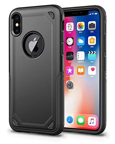 Crosspace iPhone XR Case, Slim 2 in 1 Dual Layer Shockproof Hybrid Hard Back Cover + Soft TPU Bumper Bumper Anti-Fingerprint Protective Shell for iPhone XR 6.1-Black