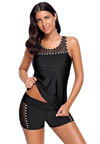 GRAPENT Women's Black Mesh Tank Top Boyshort Two-Piece Tankini Set Swimsuit Size L (US 12-14) (Piece Shorts 2 Top Tank)