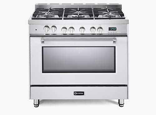 (Verona Prestige Series VPFSGE365W 36 inch. Dual Fuel Range Oven Convection 5 Sealed Burners Storage Drawer White)