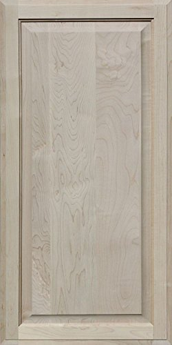 Flat Panel Cabinet Doors (Unfinished Maple Cabinet Door, Square with Raised Panel by Kendor, 36H x 18W)