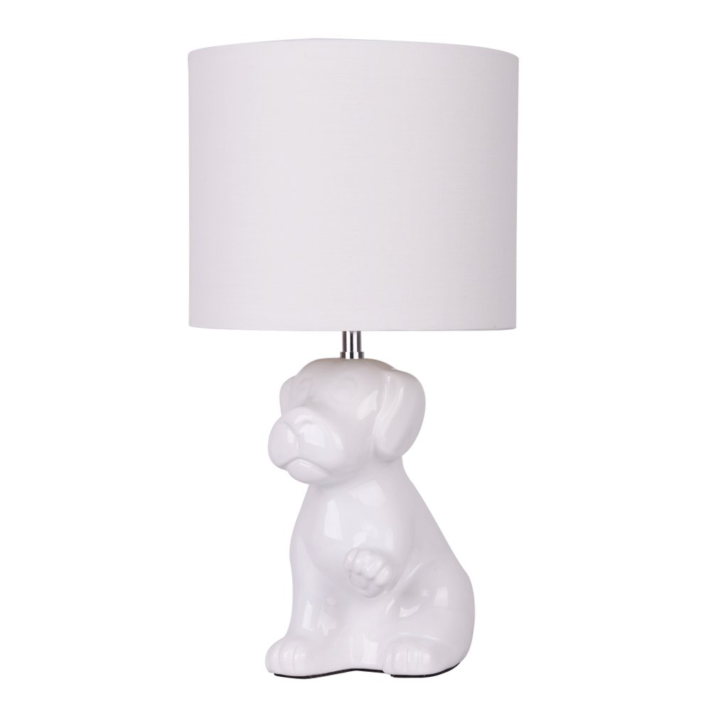 Modern white ceramic dog table lamp with a white polycotton light modern white ceramic dog table lamp with a white polycotton light shade amazon lighting geotapseo Gallery