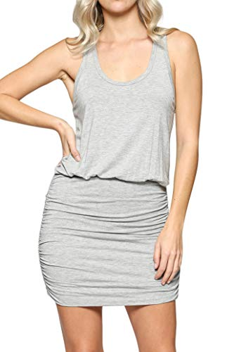 (LaClef Women's Mini Ruched Tank Shift Dress (H Grey, XS))