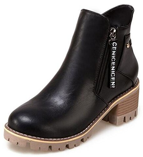 Mid Classic Zip Sole Side Lug Ankle Womens Motor Boots Black Heels Up IDIFU Booties Short Chunky vgW5cEqWw