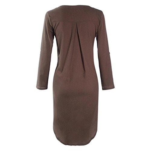 Chemisier Manches Shirt Dcontract Caf T Longues Soie Robe de Femme en Mousseline Bringbring pYqv0pw