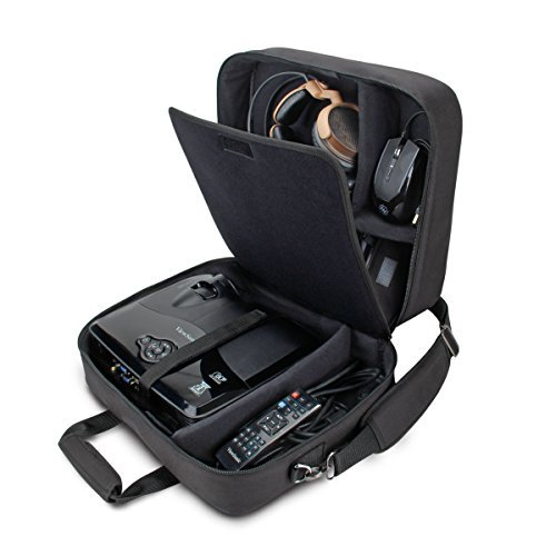 Cases Accessories Projector Carrying - USA Gear Video Projector Carrying Case Bag Compatible with DBPOWER T20, ViewSonic PJD5155/PJD5255, Epson VS250, Crenova XPE460 & More - Scratch-Resistant, Shoulder Strap & Customizable Dividers