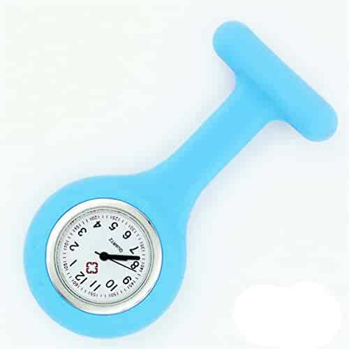 NEW Silicone Quartz Movement Nurse Brooch Fob Tunic Pocket Watch Light blue