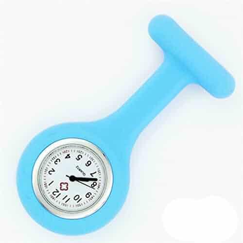 NEW Silicone Quartz Movement Nurse Brooch Fob Tunic Pocket Watch Light blue