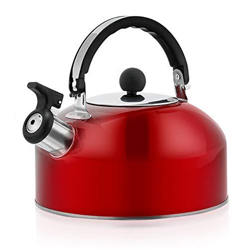 gerFogoo Hervidor de agua silbante de acero inoxidable, tetera hemisferio tetera tetera tetera tetera espejo agua pulido hervidor te cafe recipiente con asa resistente al calor (rojo)