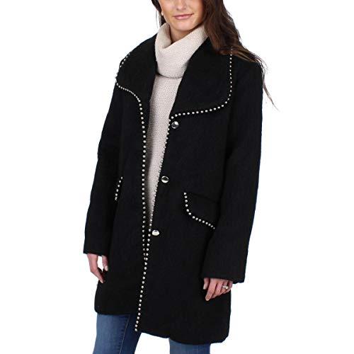 Steve Madden Womens Fall Wool Blend Midi Coat Black XL