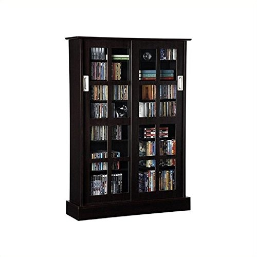 Atlantic 94835721 Glass Door Cab Espresso (Bookcase With Sliding Glass Doors)