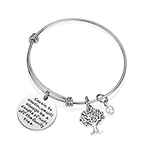 iJuqi Cousin Gift Bracelet - Cousin to Cousin We Will Always Be a Couple of Nuts Off The Tree Cousin Jewelry Gift for Women Girl, Stainless Steel (A)