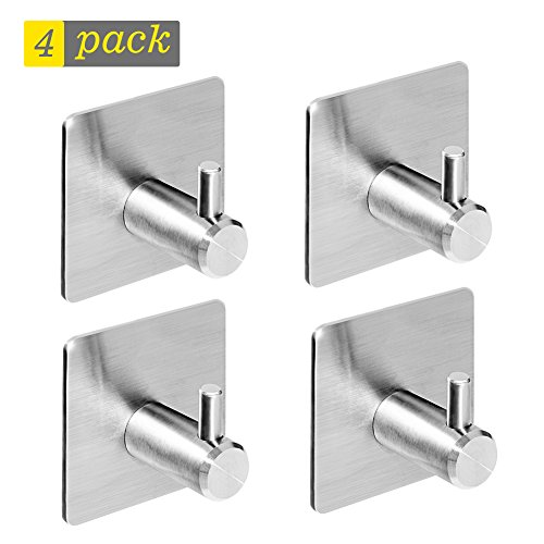 3M Self Adhesive Hooks, Heavy Duty Stainless Steel Key Hooks, Waterproof Stick on Wall Hooks, Powerful No Drill No Screw Damage Free Metal Hook for Coat Robe Towel, for Kitchen Toilet Bathroom(4 Pack)