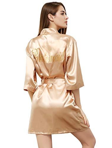 PROGULOVER Satin Kimono Robe for Women Bride Bridesmaid Robes Wedding Party with Gold Glitter
