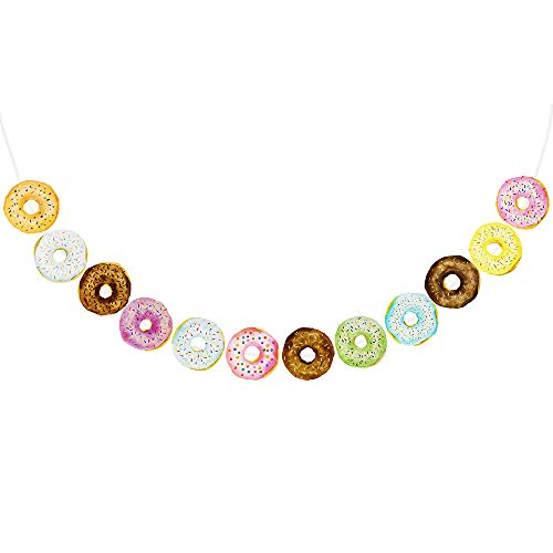 Supla 12 Pcs/8.2' Long Donut Birthday Banner Donut Party Bunting Garland Background String for Donut Themed Party Tea Party Kids Birthday Baby Shower Wall Dessert Table Decoration ()